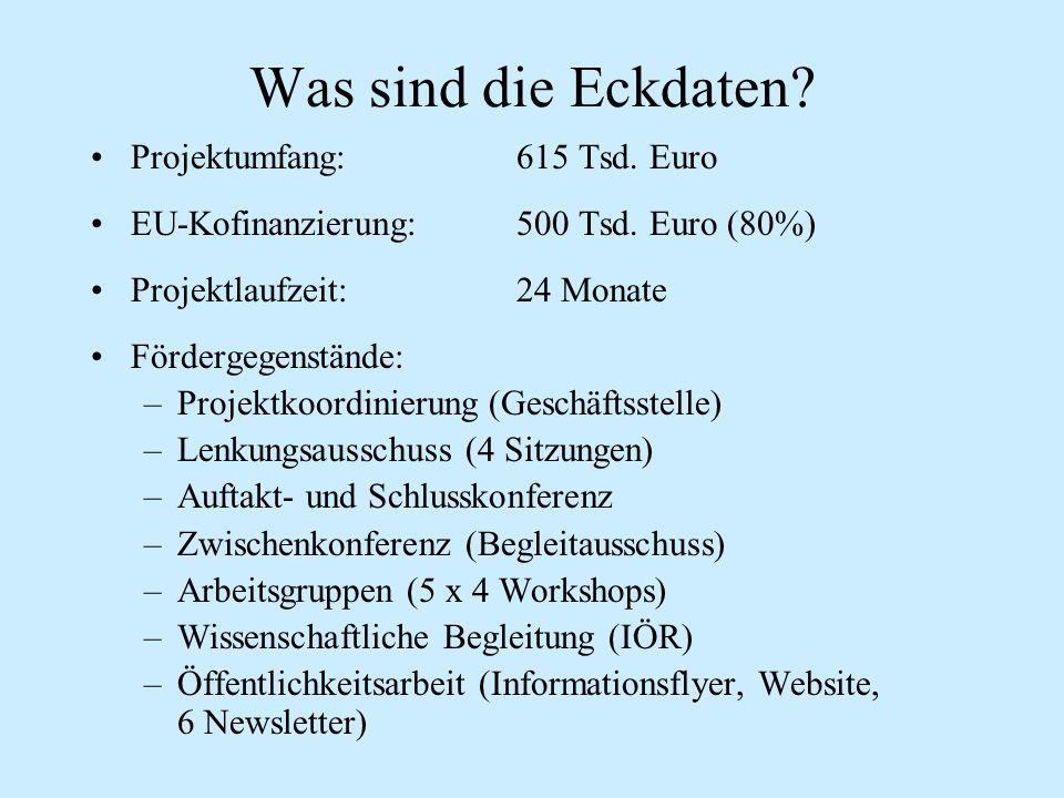 Was sind die Eckdaten? Projektumfang: 615 Tsd. Euro EU-Kofinanzierung: 500 Tsd. Euro (80%) Projektlaufzeit: 24 Monate Fördergegenstände: –Projektkoord