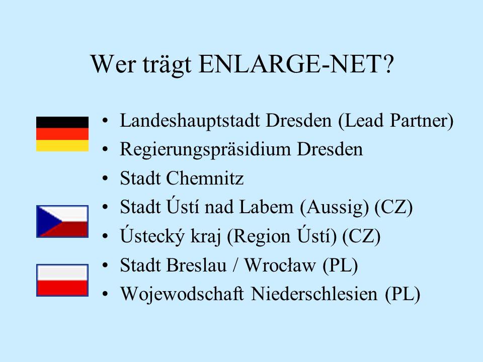 Wer trägt ENLARGE-NET? Landeshauptstadt Dresden (Lead Partner) Regierungspräsidium Dresden Stadt Chemnitz Stadt Ústí nad Labem (Aussig) (CZ) Ústecký k