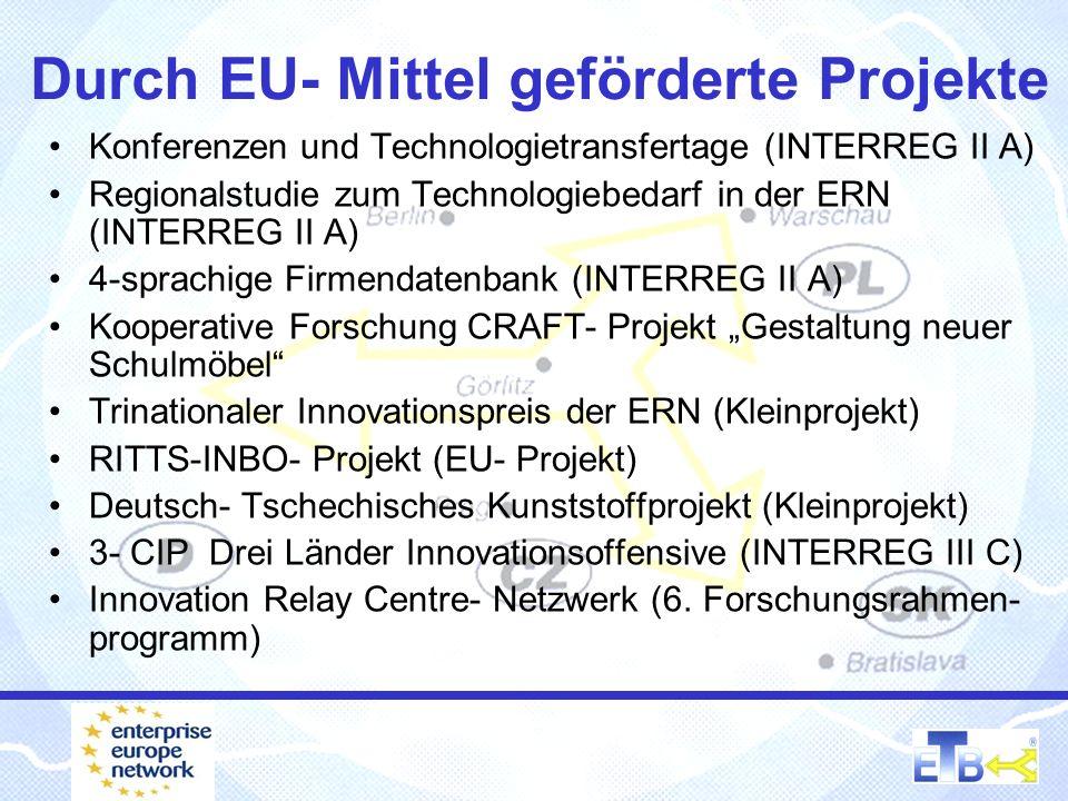 Durch EU- Mittel geförderte Projekte Konferenzen und Technologietransfertage (INTERREG II A) Regionalstudie zum Technologiebedarf in der ERN (INTERREG
