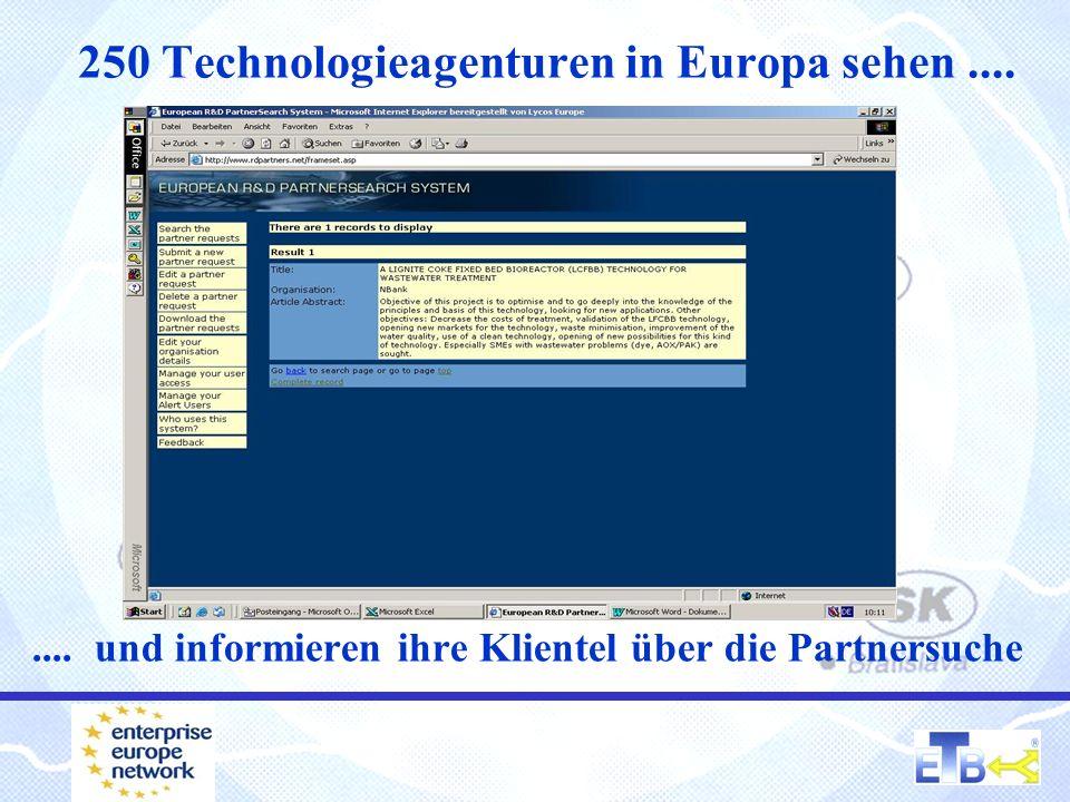250 Technologieagenturen in Europa sehen........ und informieren ihre Klientel über die Partnersuche
