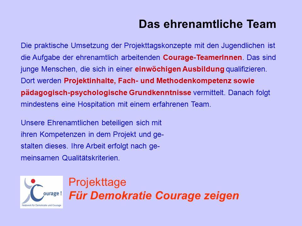 Die praktische Umsetzung der Projekttagskonzepte mit den Jugendlichen ist die Aufgabe der ehrenamtlich arbeitenden Courage-TeamerInnen.