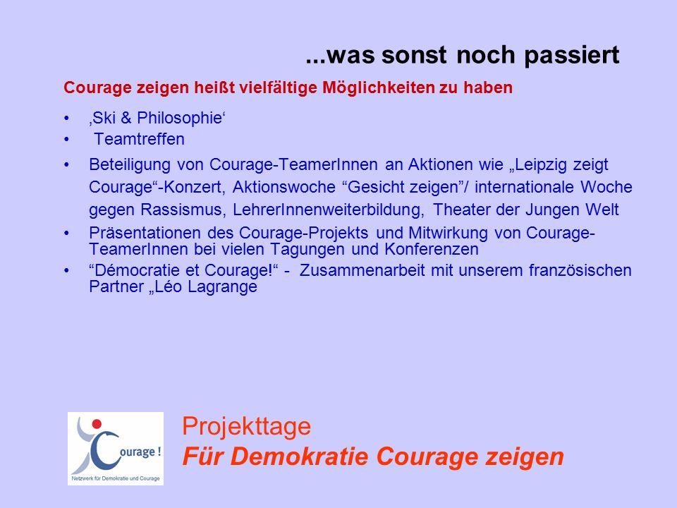 """'Ski & Philosophie' Teamtreffen Beteiligung von Courage-TeamerInnen an Aktionen wie """"Leipzig zeigt Courage -Konzert, Aktionswoche Gesicht zeigen / internationale Woche gegen Rassismus, LehrerInnenweiterbildung, Theater der Jungen Welt Präsentationen des Courage-Projekts und Mitwirkung von Courage- TeamerInnen bei vielen Tagungen und Konferenzen Démocratie et Courage! - Zusammenarbeit mit unserem französischen Partner """"Léo Lagrange...was sonst noch passiert Courage zeigen heißt vielfältige Möglichkeiten zu haben Projekttage Für Demokratie Courage zeigen"""