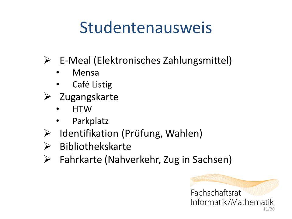 Studentenausweis  E-Meal (Elektronisches Zahlungsmittel) Mensa Café Listig  Zugangskarte HTW Parkplatz  Identifikation (Prüfung, Wahlen)  Biblioth
