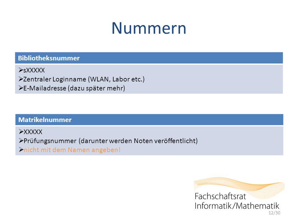 Nummern 12/30 Bibliotheksnummer  sXXXXX  Zentraler Loginname (WLAN, Labor etc.)  E-Mailadresse (dazu später mehr) Matrikelnummer  XXXXX  Prüfungsnummer (darunter werden Noten veröffentlicht)  nicht mit dem Namen angeben!