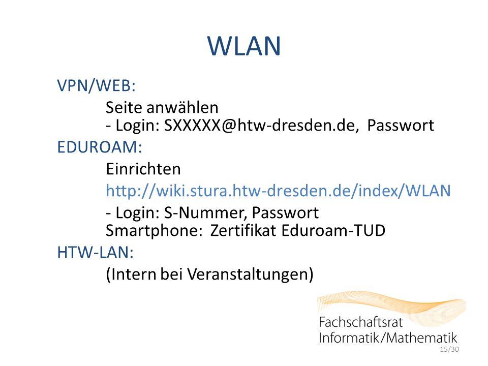 WLAN VPN/WEB: Seite anwählen - Login: SXXXXX@htw-dresden.de, Passwort EDUROAM: Einrichten http://wiki.stura.htw-dresden.de/index/WLAN - Login: S-Nummer, Passwort Smartphone: Zertifikat Eduroam-TUD HTW-LAN: (Intern bei Veranstaltungen) 15/30