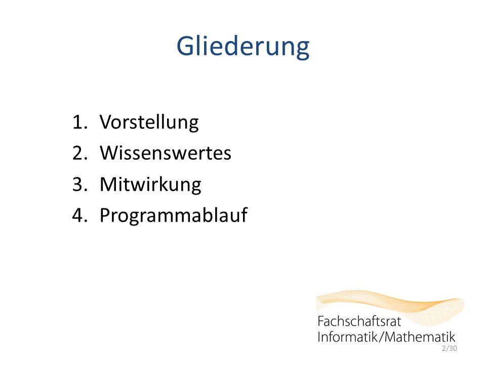 Gliederung 1.Vorstellung 2.Wissenswertes 3.Mitwirkung 4.Programmablauf 2/30
