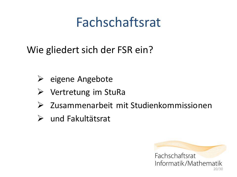 Fachschaftsrat Wie gliedert sich der FSR ein.