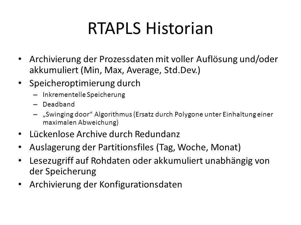 """RTAPLS Historian Archivierung der Prozessdaten mit voller Auflösung und/oder akkumuliert (Min, Max, Average, Std.Dev.) Speicheroptimierung durch – Inkrementelle Speicherung – Deadband – """"Swinging door Algorithmus (Ersatz durch Polygone unter Einhaltung einer maximalen Abweichung) Lückenlose Archive durch Redundanz Auslagerung der Partitionsfiles (Tag, Woche, Monat) Lesezugriff auf Rohdaten oder akkumuliert unabhängig von der Speicherung Archivierung der Konfigurationsdaten"""