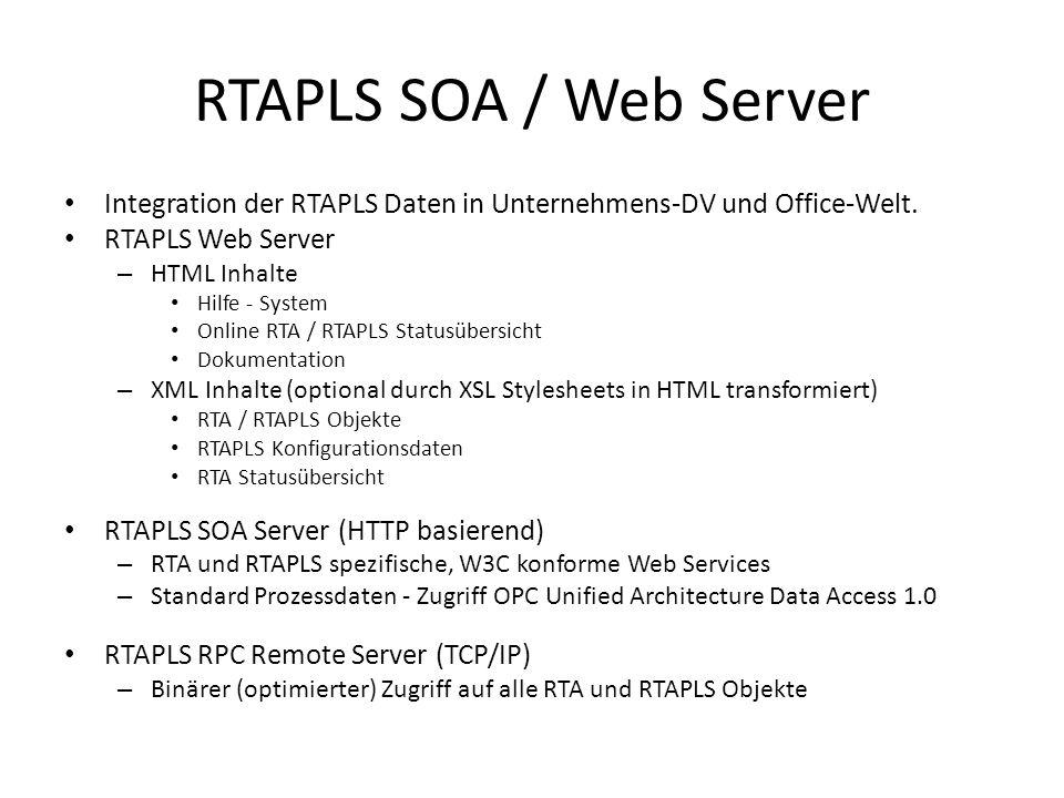 RTAPLS SOA / Web Server Integration der RTAPLS Daten in Unternehmens-DV und Office-Welt.