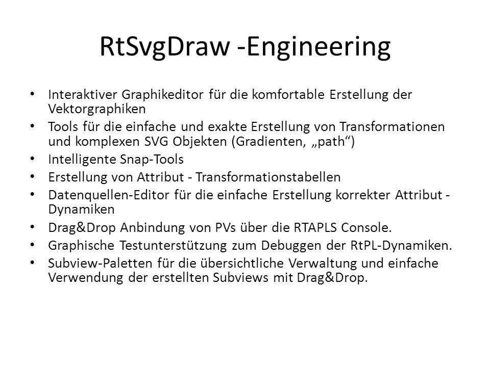 """RtSvgDraw -Engineering Interaktiver Graphikeditor für die komfortable Erstellung der Vektorgraphiken Tools für die einfache und exakte Erstellung von Transformationen und komplexen SVG Objekten (Gradienten, """"path ) Intelligente Snap-Tools Erstellung von Attribut - Transformationstabellen Datenquellen-Editor für die einfache Erstellung korrekter Attribut - Dynamiken Drag&Drop Anbindung von PVs über die RTAPLS Console."""