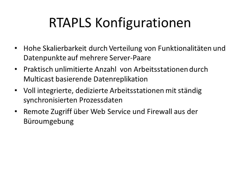 RTAPLS Konfigurationen Hohe Skalierbarkeit durch Verteilung von Funktionalitäten und Datenpunkte auf mehrere Server-Paare Praktisch unlimitierte Anzahl von Arbeitsstationen durch Multicast basierende Datenreplikation Voll integrierte, dedizierte Arbeitsstationen mit ständig synchronisierten Prozessdaten Remote Zugriff über Web Service und Firewall aus der Büroumgebung