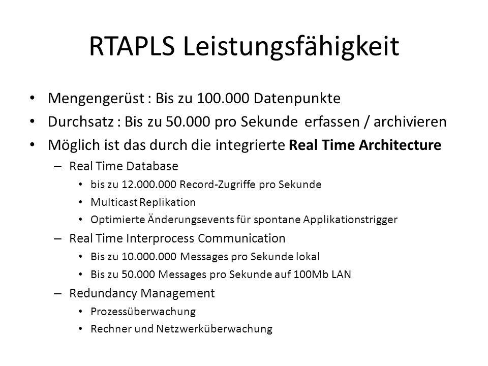 RTAPLS Leistungsfähigkeit Mengengerüst : Bis zu 100.000 Datenpunkte Durchsatz : Bis zu 50.000 pro Sekunde erfassen / archivieren Möglich ist das durch die integrierte Real Time Architecture – Real Time Database bis zu 12.000.000 Record-Zugriffe pro Sekunde Multicast Replikation Optimierte Änderungsevents für spontane Applikationstrigger – Real Time Interprocess Communication Bis zu 10.000.000 Messages pro Sekunde lokal Bis zu 50.000 Messages pro Sekunde auf 100Mb LAN – Redundancy Management Prozessüberwachung Rechner und Netzwerküberwachung