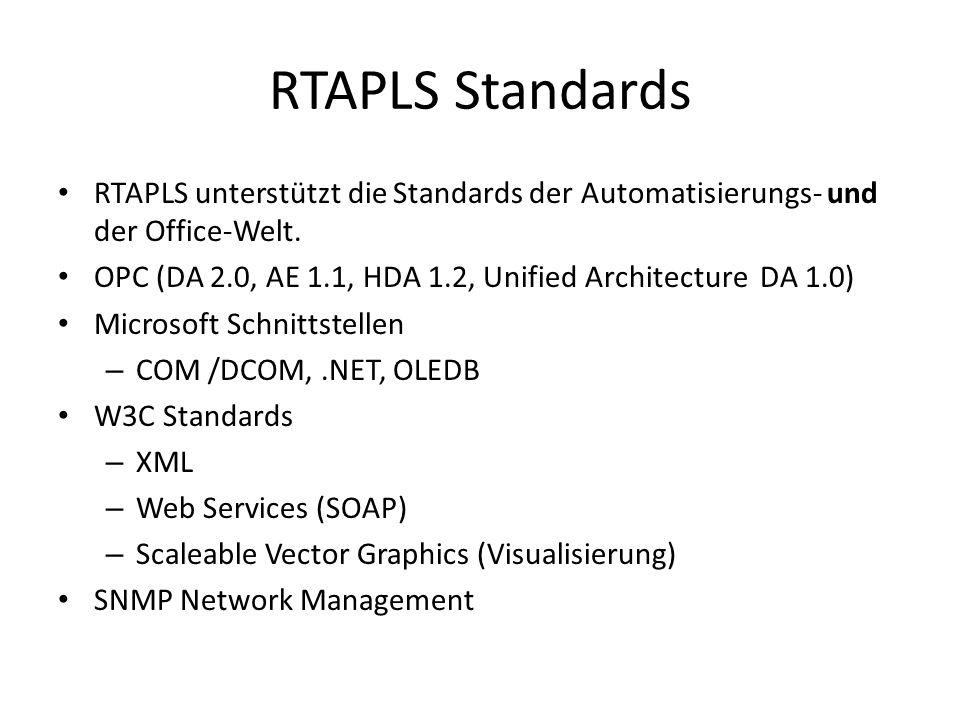 RTAPLS Plattformen Server – Microsoft Windows 2003 (x86, ia64) – Linux (Suse) – HP-UX, Sun Solaris – OpenVMS Workstation – Microsoft Windows XP, 2003, Vista – Linux (Suse)
