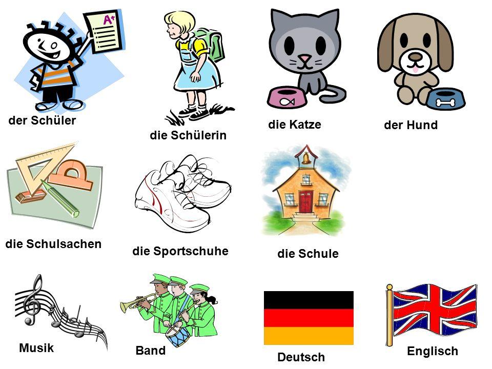 der Schüler Deutsch Musik die Schulsachen die Schülerin die Sportschuhe die Schule Englisch Band der Hund die Katze
