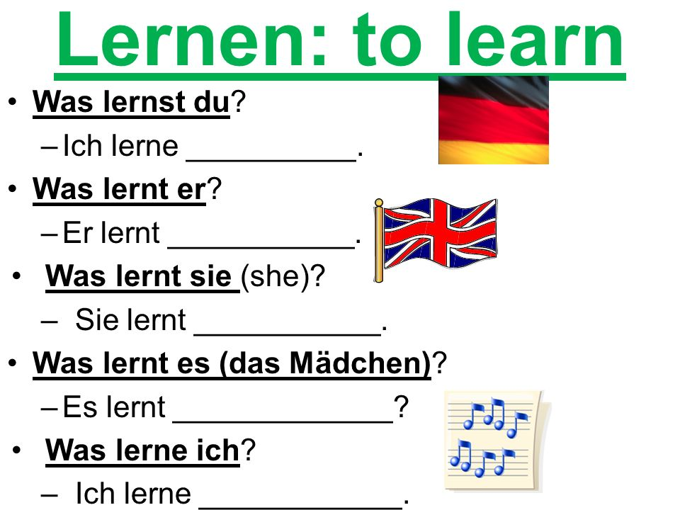 Cube Activity lernen = to learn kennen = to know spielen = to play wohnen = to live kommen = to come gehen = to go