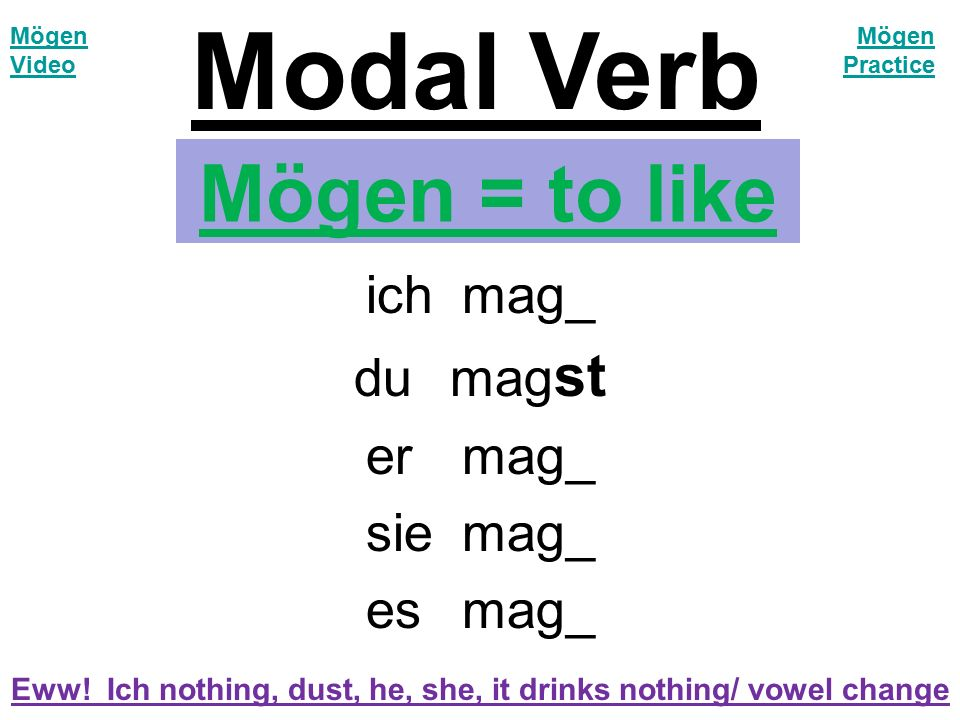 Mögen = to like ichmag_ dumag st er mag_ siemag_ esmag_ Eww! Ich nothing, dust, he, she, it drinks nothing/ vowel change Modal Verb Mögen Video Mögen