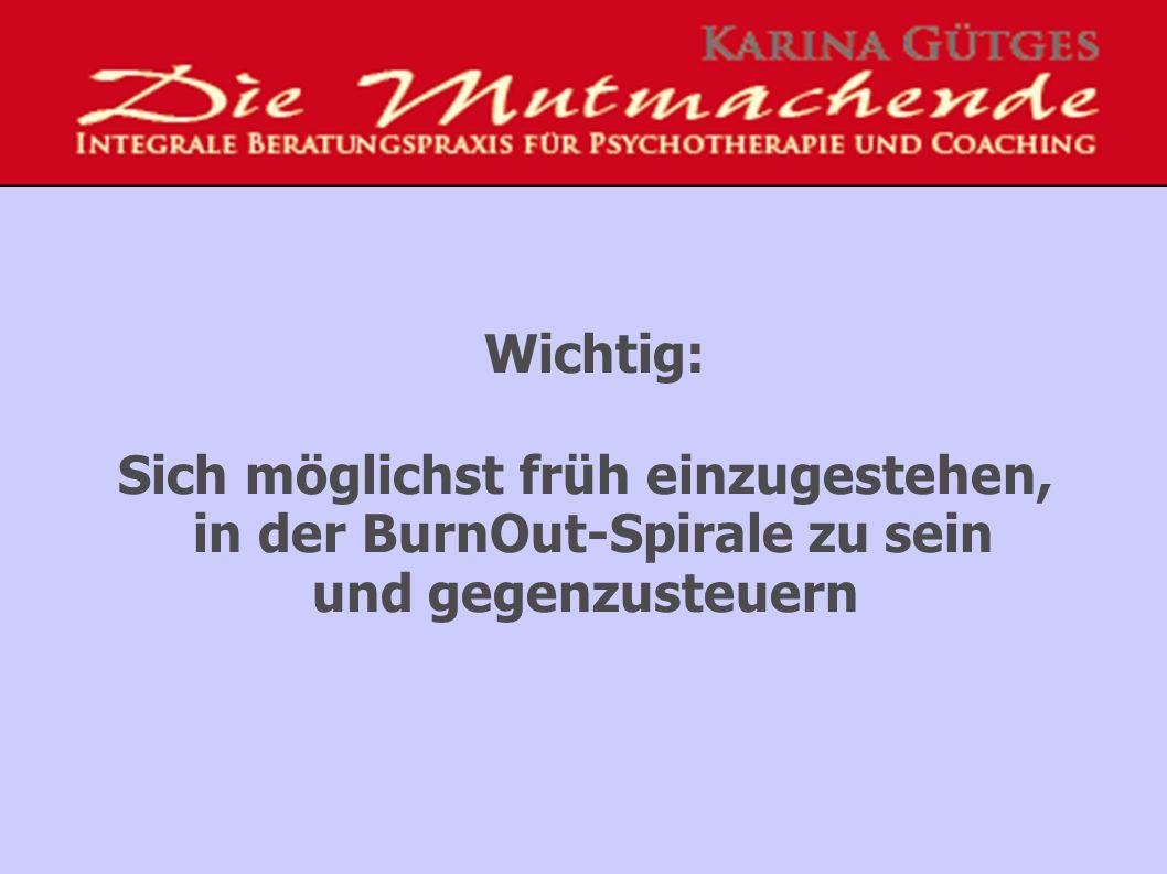 Wichtig: Sich möglichst früh einzugestehen, in der BurnOut-Spirale zu sein und gegenzusteuern