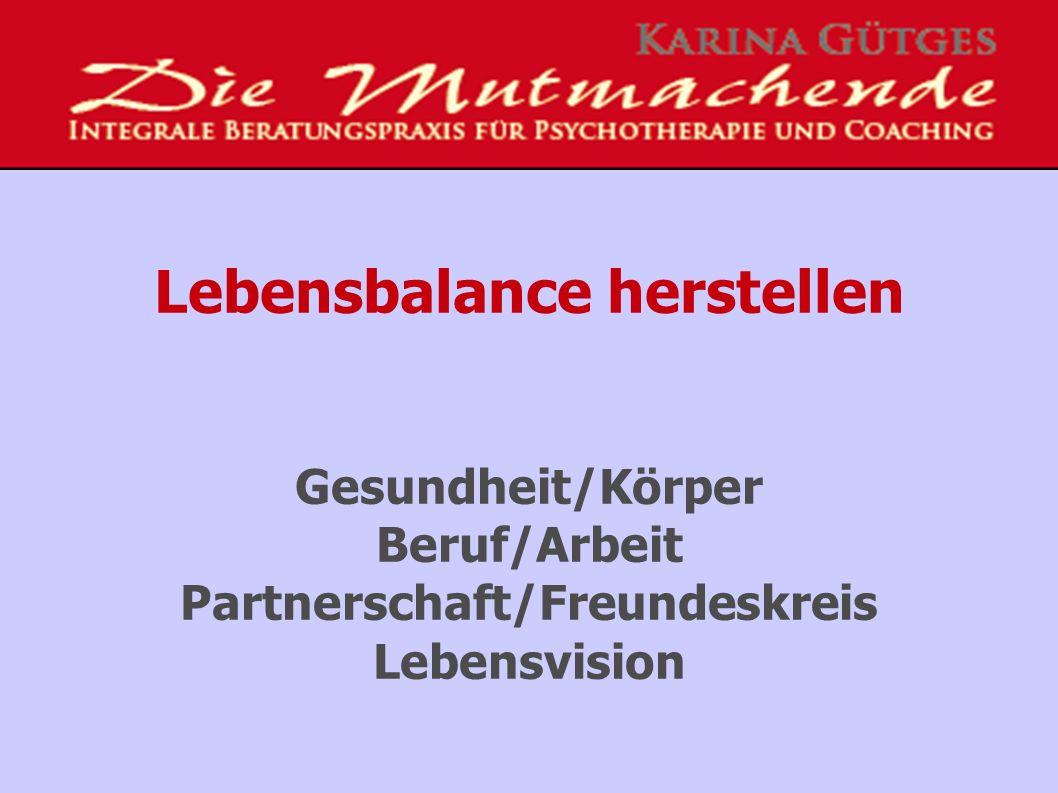 Lebensbalance herstellen Gesundheit/Körper Beruf/Arbeit Partnerschaft/Freundeskreis Lebensvision