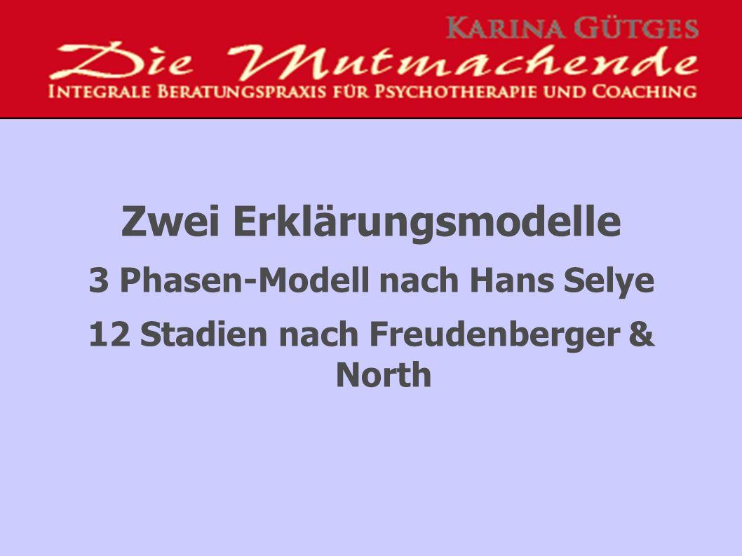 Zwei Erklärungsmodelle 3 Phasen-Modell nach Hans Selye 12 Stadien nach Freudenberger & North