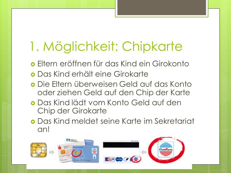 1. Möglichkeit: Chipkarte  Eltern eröffnen für das Kind ein Girokonto  Das Kind erhält eine Girokarte  Die Eltern überweisen Geld auf das Konto ode