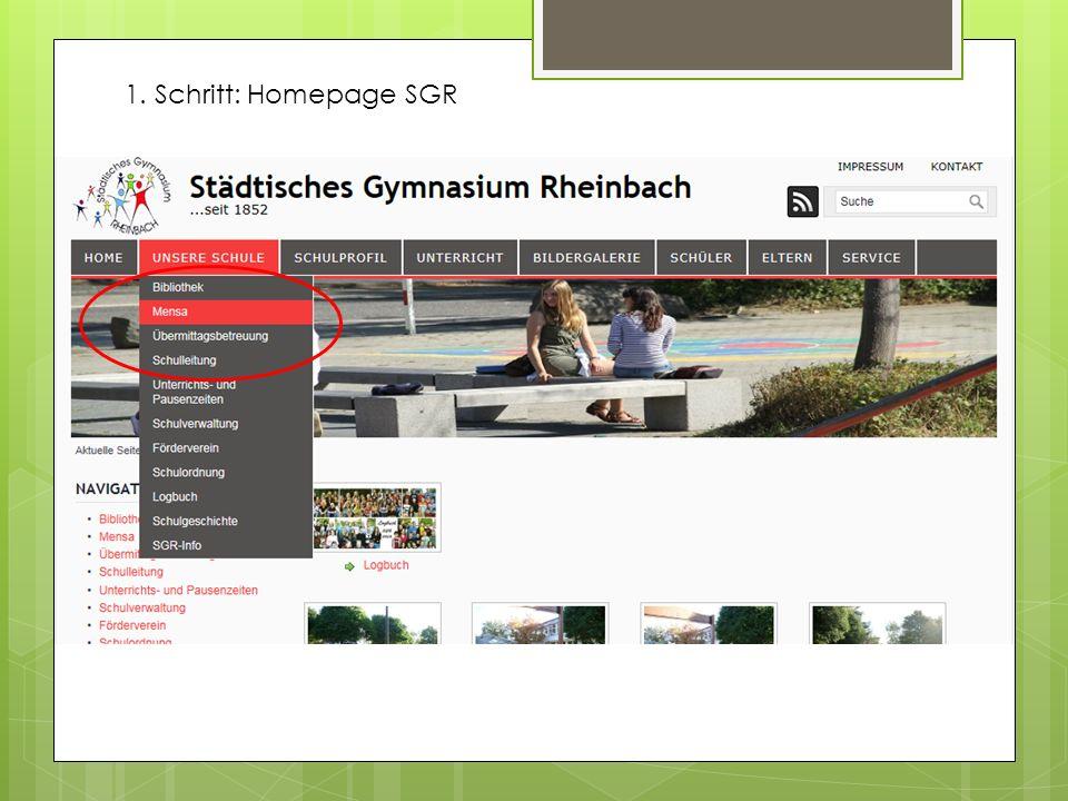 1. Schritt: Homepage SGR