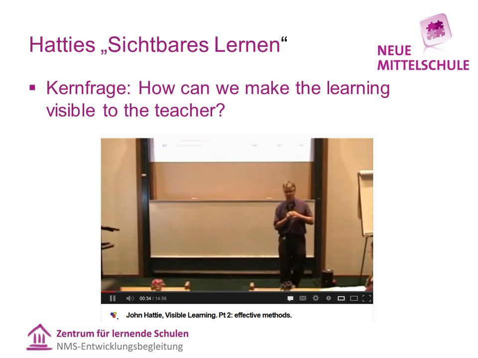 "Hatties ""Sichtbares Lernen""  Kernfrage: How can we make the learning visible to the teacher?"