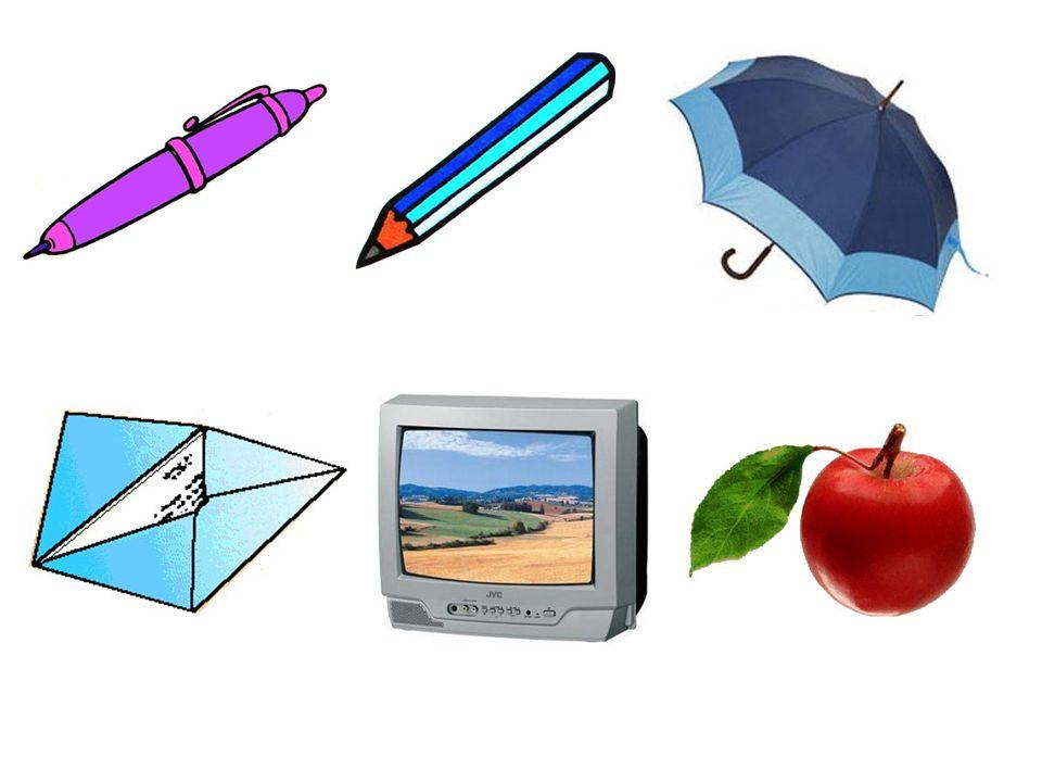 Ich habe einen Apfel. Ich habe einen Fernseher. Ich habe einen Kugelschreiber.