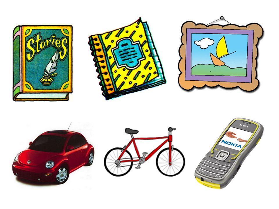 Ich habe ein Heft. Ich habe ein Fahrrad. Ich habe ein Auto.