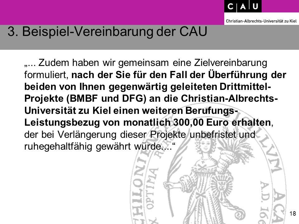 """3. Beispiel-Vereinbarung der CAU """"... Zudem haben wir gemeinsam eine Zielvereinbarung formuliert, nach der Sie für den Fall der Überführung der beiden"""