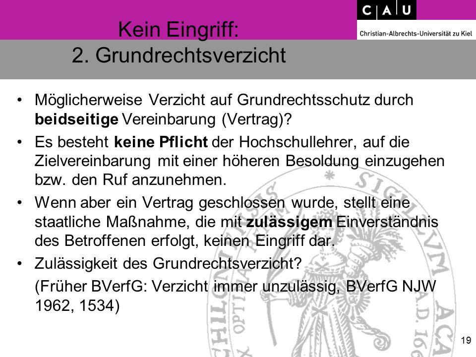 Kein Eingriff: 2. Grundrechtsverzicht Möglicherweise Verzicht auf Grundrechtsschutz durch beidseitige Vereinbarung (Vertrag)? Es besteht keine Pflicht