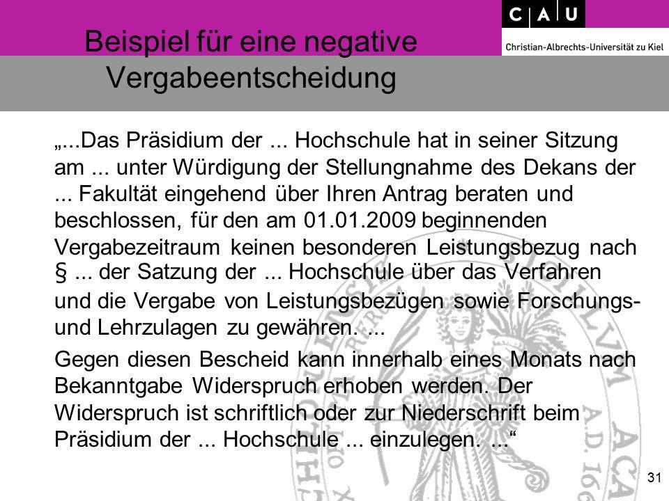 """Beispiel für eine negative Vergabeentscheidung """"...Das Präsidium der... Hochschule hat in seiner Sitzung am... unter Würdigung der Stellungnahme des D"""