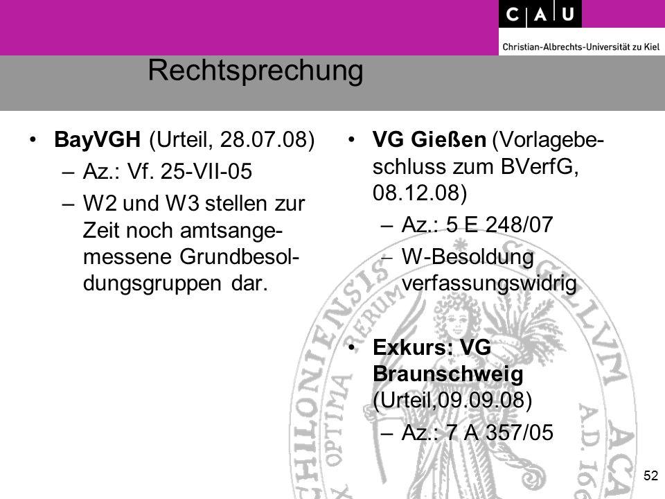 Rechtsprechung BayVGH (Urteil, 28.07.08) –Az.: Vf. 25-VII-05 –W2 und W3 stellen zur Zeit noch amtsange- messene Grundbesol- dungsgruppen dar. VG Gieße