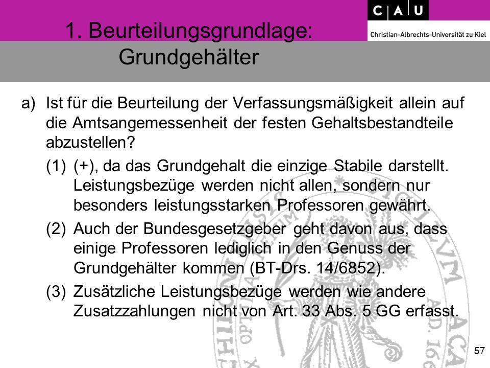 1. Beurteilungsgrundlage: Grundgehälter a)Ist für die Beurteilung der Verfassungsmäßigkeit allein auf die Amtsangemessenheit der festen Gehaltsbestand