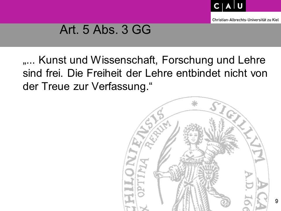 """Art. 5 Abs. 3 GG """"... Kunst und Wissenschaft, Forschung und Lehre sind frei. Die Freiheit der Lehre entbindet nicht von der Treue zur Verfassung."""" 9"""