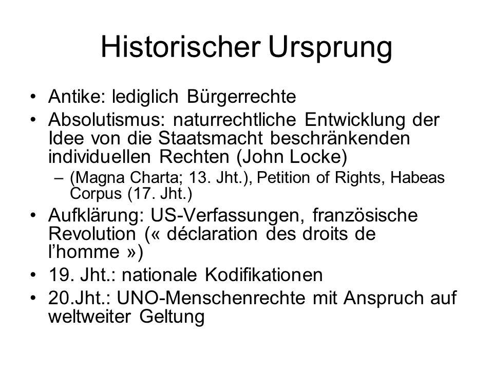 Historischer Ursprung Antike: lediglich Bürgerrechte Absolutismus: naturrechtliche Entwicklung der Idee von die Staatsmacht beschränkenden individuellen Rechten (John Locke) –(Magna Charta; 13.