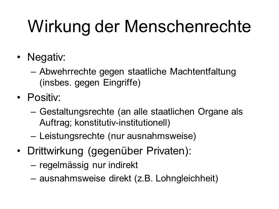 Wirkung der Menschenrechte Negativ: –Abwehrrechte gegen staatliche Machtentfaltung (insbes.