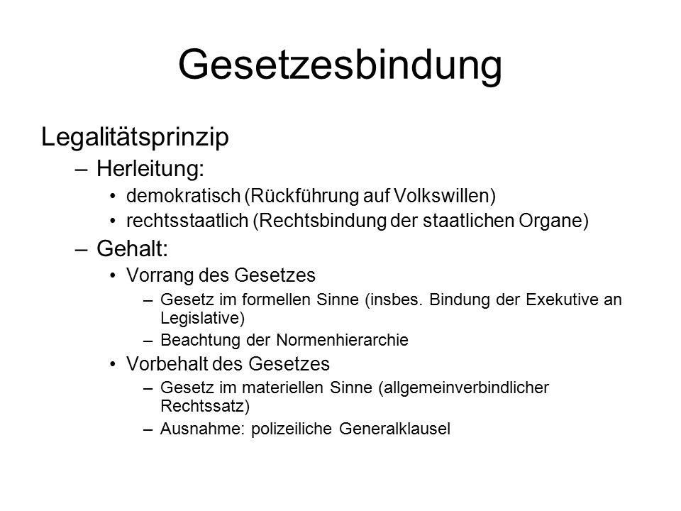 Gesetzesbindung Legalitätsprinzip –Herleitung: demokratisch (Rückführung auf Volkswillen) rechtsstaatlich (Rechtsbindung der staatlichen Organe) –Geha