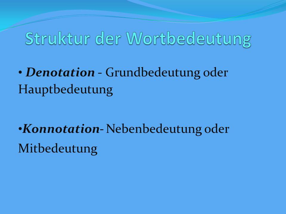 Denotation - Grundbedeutung oder Hauptbedeutung Konnotation- Nebenbedeutung oder Mitbedeutung