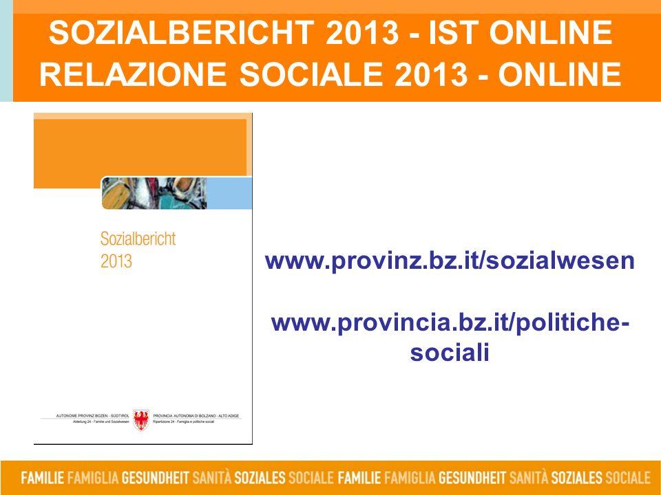 SOZIALBERICHT 2013 - IST ONLINE RELAZIONE SOCIALE 2013 - ONLINE www.provinz.bz.it/sozialwesen www.provincia.bz.it/politiche- sociali