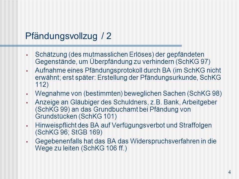 Pfändungsvollzug / 2 Schätzung (des mutmasslichen Erlöses) der gepfändeten Gegenstände, um Überpfändung zu verhindern (SchKG 97) Aufnahme eines Pfändu