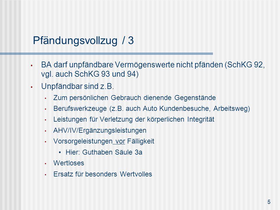 Reihenfolge der Pfändung (SchKG 95) Bewegliches inkl.