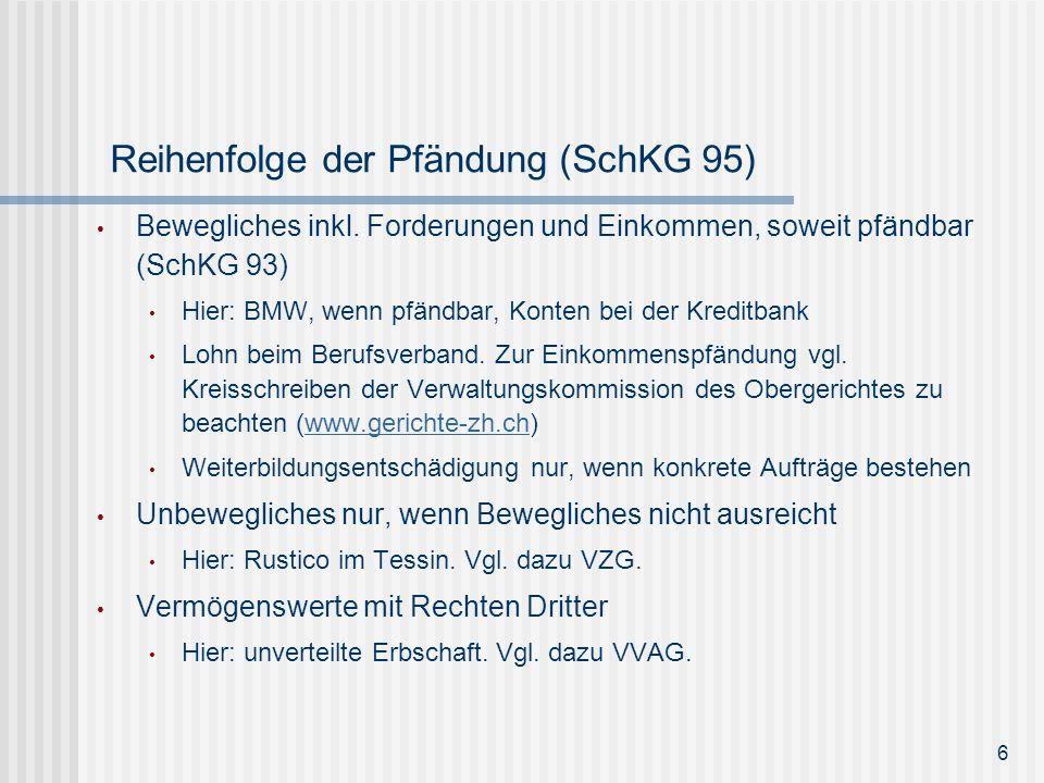 Reihenfolge der Pfändung (SchKG 95) Bewegliches inkl. Forderungen und Einkommen, soweit pfändbar (SchKG 93) Hier: BMW, wenn pfändbar, Konten bei der K