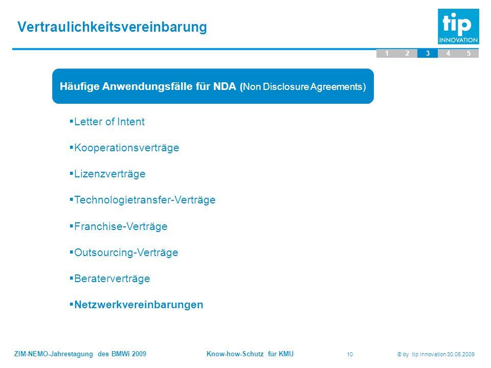 ZIM-NEMO-Jahrestagung des BMWi 2009 Know-how-Schutz für KMU 10 © by tip innovation 30.06.2009 Vertraulichkeitsvereinbarung 12345 Häufige Anwendungsfäl