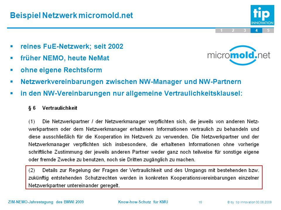 ZIM-NEMO-Jahrestagung des BMWi 2009 Know-how-Schutz für KMU 15 © by tip innovation 30.06.2009 Beispiel Netzwerk micromold.net 12345  reines FuE-Netzw