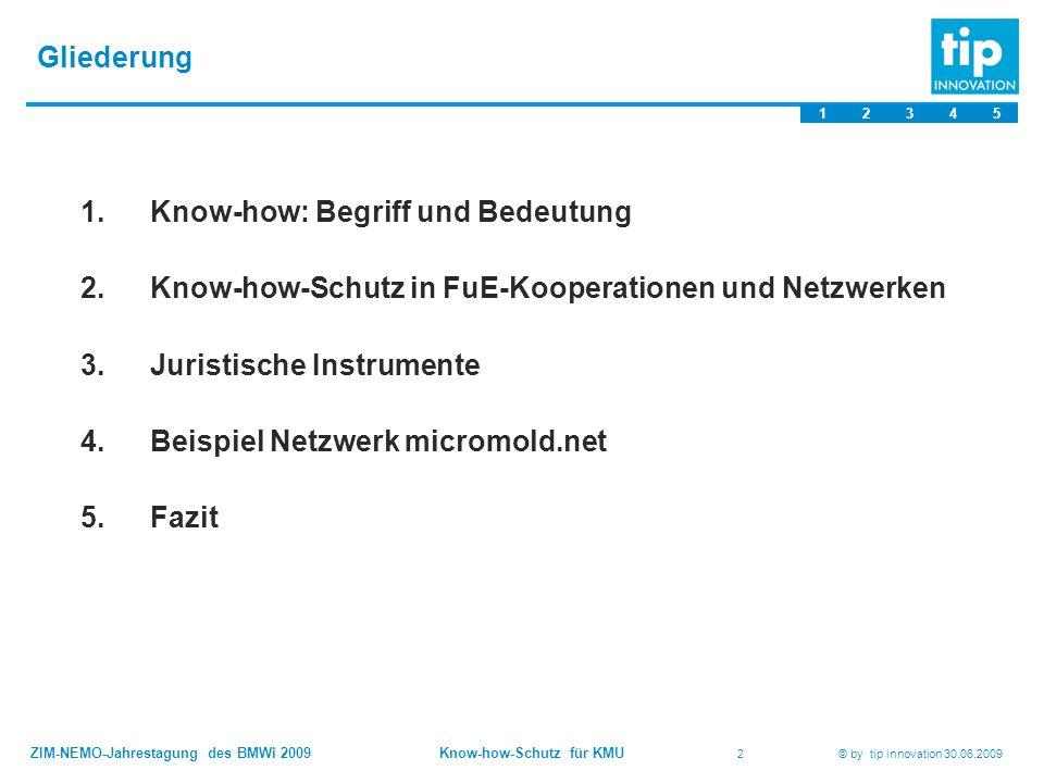 ZIM-NEMO-Jahrestagung des BMWi 2009 Know-how-Schutz für KMU 2 © by tip innovation 30.06.2009 Gliederung 1.Know-how: Begriff und Bedeutung 2.Know-how-Schutz in FuE-Kooperationen und Netzwerken 3.Juristische Instrumente 4.Beispiel Netzwerk micromold.net 5.Fazit 12345