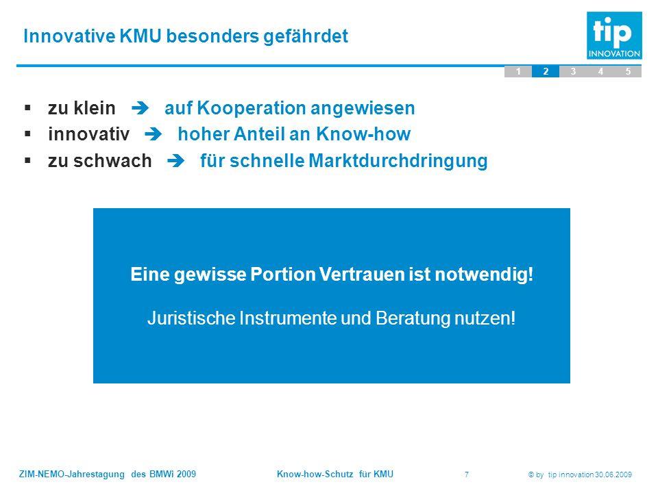 ZIM-NEMO-Jahrestagung des BMWi 2009 Know-how-Schutz für KMU 7 © by tip innovation 30.06.2009 Innovative KMU besonders gefährdet 12345  zu klein  auf Kooperation angewiesen  innovativ  hoher Anteil an Know-how  zu schwach  für schnelle Marktdurchdringung Eine gewisse Portion Vertrauen ist notwendig.