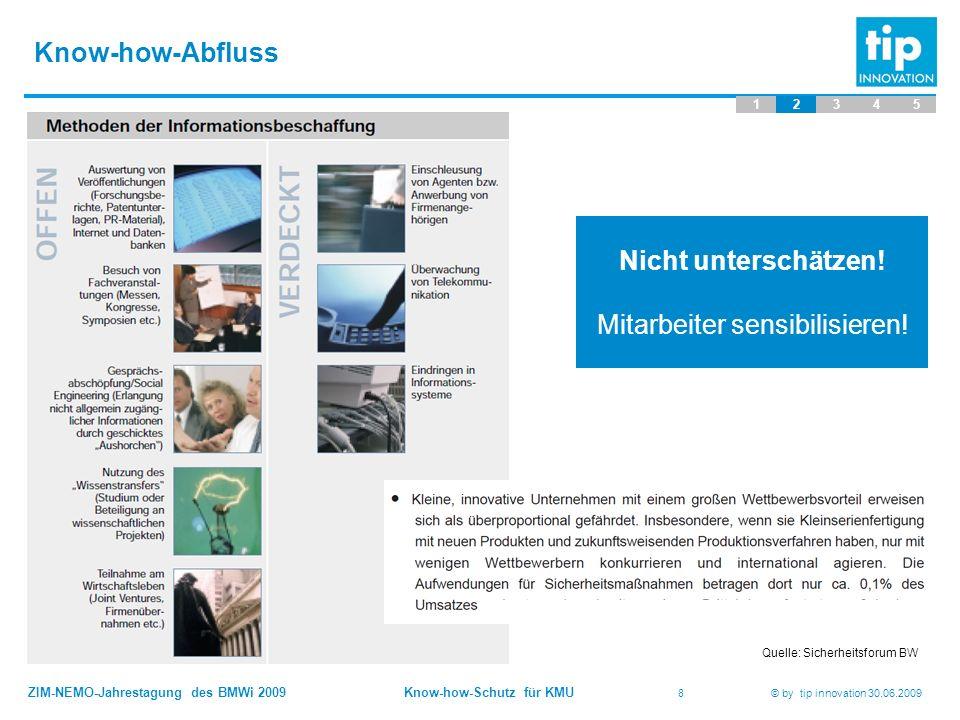ZIM-NEMO-Jahrestagung des BMWi 2009 Know-how-Schutz für KMU 19 © by tip innovation 30.06.2009 Danke für Ihre Aufmerksamkeit tip innovation Geschwister-Scholl-Str.