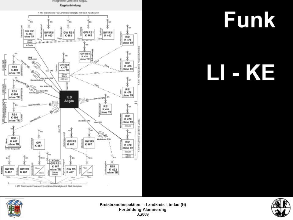 Funk LI - KE Kreisbrandinspektion Lindau/Bodensee FS/KBR/09 Kreisbrandinspektion – Landkreis Lindau (B) Fortbildung Alarmierung 3.2009