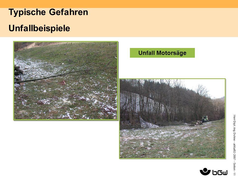 Herr Dipl.-Ing. Dohne – a66a/02-2007 – Seiten - 11 Unfall Motorsäge Typische Gefahren Unfallbeispiele