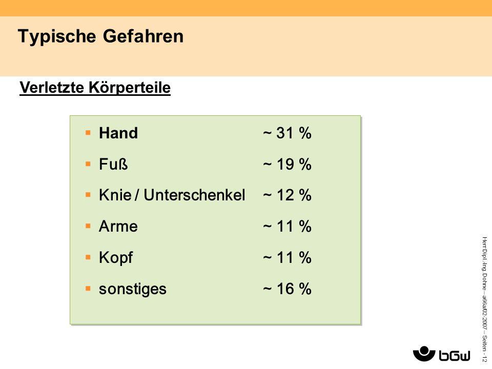 Herr Dipl.-Ing. Dohne – a66a/02-2007 – Seiten - 12 Typische Gefahren  Hand ∼ 31 %  Fuß∼ 19 %  Knie / Unterschenkel ∼ 12 %  Arme∼ 11 %  Kopf∼ 11 %